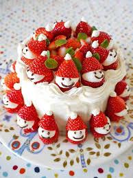 Cake with strawberries Santas